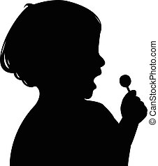a child eating candy silhouette