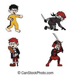 a child fighter illustration design