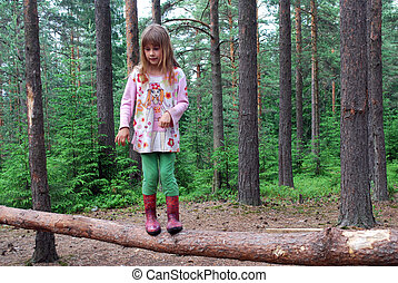 A child in a pine forest