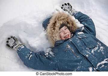 A child in the snow