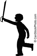 a child playing with sword, silhouette vector