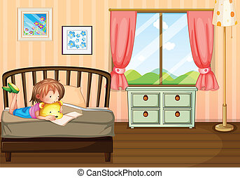 A child studying inside her room - Illustration of a child...