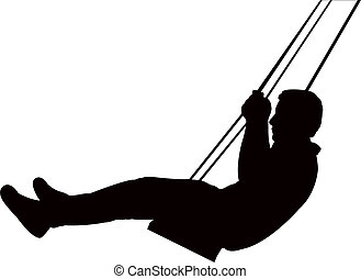 a child swinging, silhouette vector