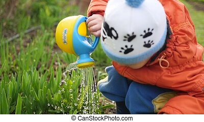 A child with a small watering can water the grass in the yard