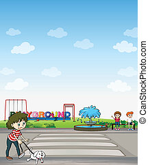 A child with her dog across a playground