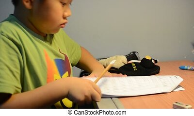 a child working very hard
