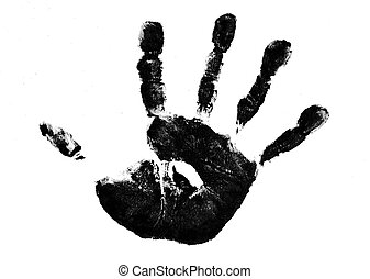 a childs painted handprint, isolated on a white, background.
