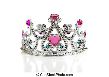 A child\'s toy princess tiara on a white background with...