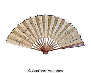 A chinese fan with inscription isolated on white