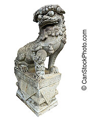 a chinese lion statue isolated on white background