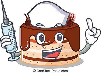A chocolate cake hospitable Nurse character with a syringe