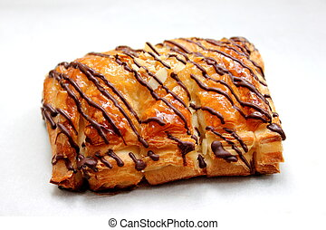 a chocolate danish puff pastry on white