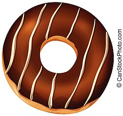 A Chocolate Donut on White Background