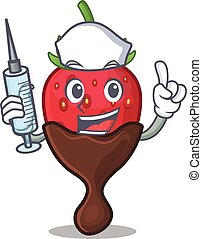 A chocolate strawberry hospitable Nurse character with a syringe