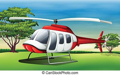 Illustration of a chopper landing