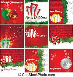 A Christmas background set - vector illustration