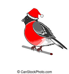 A Christmas bullfinch on a white background - A Christmas...