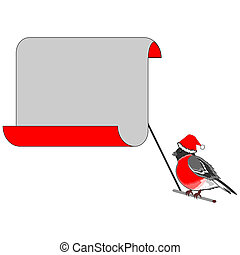 A Christmas bullfinch with a big blank paper for congratulations. Vector-art illustration on a white background