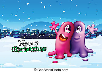 A christmas card design with two monsters