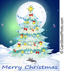 A christmas card template with a white christmas tree
