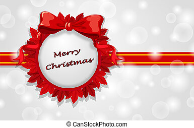 A christmas card template with red ribbons