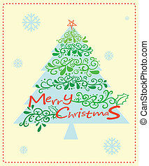 A christmas card with a christmas tree