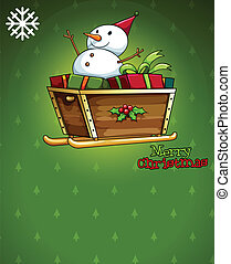 A christmas card with a snowman above the sleigh