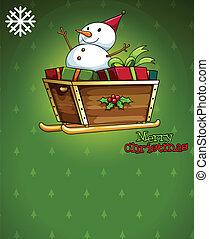 A christmas card with a snowman above the sleigh