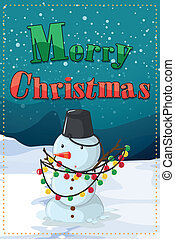 A christmas card with a snowman