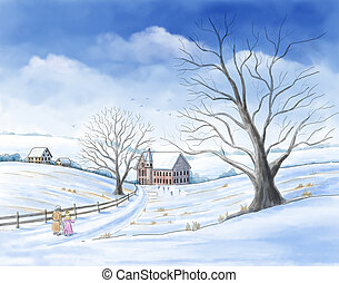 A watercolor-style illustration of a scene from Charles Dickens? book ?A Christmas Carol? with Ebenezer Scrooge visiting his childhood with the ghost of Christmas past.