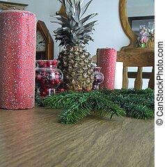 Christmas centerpiece on table