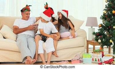 A Christmas day in a family in the living room