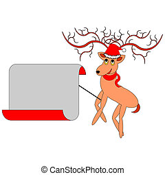 A Christmas deer with a big blank paper