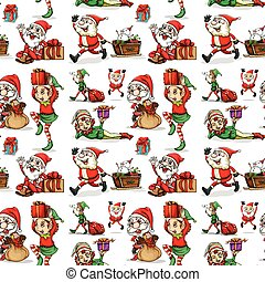 A christmas design with elves