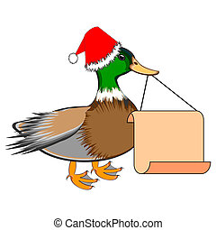 A Christmas duck with a big blank paper in his beak. Vector-...