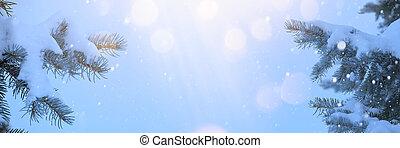 A Christmas frame background. Snow Xmas Tree and Holiday Light