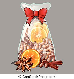 A Christmas gift in the form of a transparent plastic bag filled with all-natural spices, isolated on grey background. Vector cartoon close-up illustration.