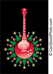 A Christmas guitar background with space for text