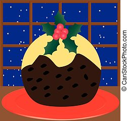 Christmas Pudding - A Christmas Pudding on a red plate...