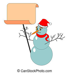A Christmas snowman with a big blank paper