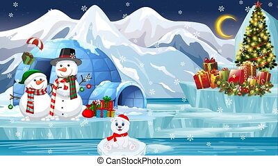 A Christmas tale, polar bears are waiting for gifts. looped video. Screensaver, background.(2)
