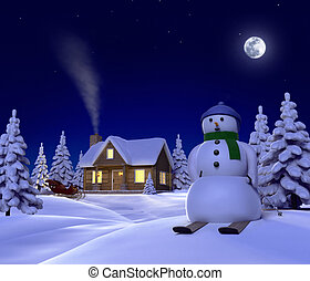 A christmas themed snow scene showing Snowman, Cabin and...