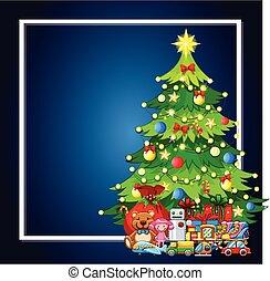A christmas tree and present frame