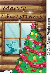 A christmas tree near the window