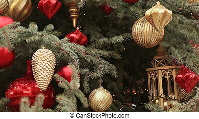 A Christmas tree with charming toys and ornaments. Moscow. New Year theme.