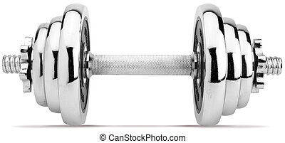 chrome dumbell isolated on white with a clipping path