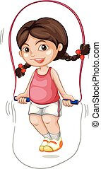 A chubby girl skipping the rope