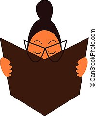A chubby girl with her eye glasses is reading a book vector color drawing or illustration