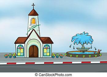Illustration of a church and a fountain near a street