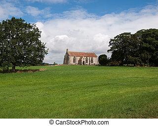 A church in a field